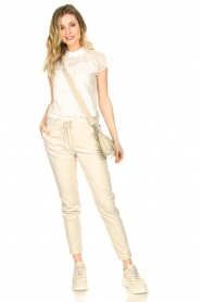 Aaiko |  Trousers with lurex stripes Poppi | off-white  | Picture 3