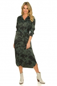 Aaiko |  Button-down dress with drawstring Palma | green  | Picture 2
