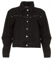 Aaiko |  Short denim jacket with studs Bryenne | black  | Picture 1