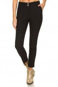Aaiko |  Pantalon with seams Tamar | black  | Picture 2
