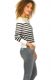 Aaiko |  Striped sweater Beyza | white  | Picture 5