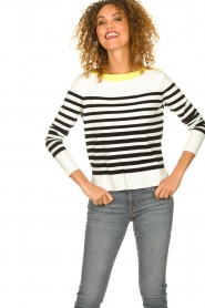 Aaiko |  Striped sweater Beyza | white  | Picture 4