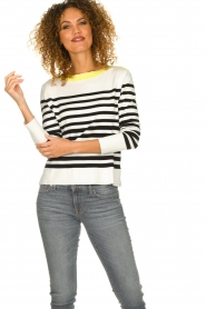 Aaiko |  Striped sweater Beyza | white  | Picture 2