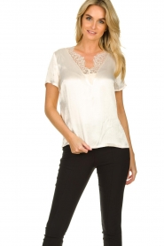 Aaiko |  Top with lace Veerly | white  | Picture 4
