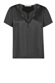 Aaiko |  Top with lace Veerly | black  | Picture 1