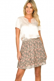 Aaiko |  Floral printed skirt Sheli | beige  | Picture 2