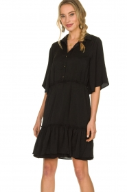Aaiko |  Wide midi dress Sarian | black  | Picture 2