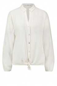 Aaiko |  Front knot blouse with croco pattern Roza | white  | Picture 1