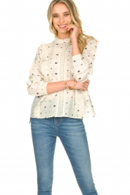 Aaiko |  Embroidered blouse Verana | natural  | Picture 2