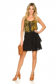 Aaiko |  Wrap skirt with ruffles Salienta | black  | Picture 3