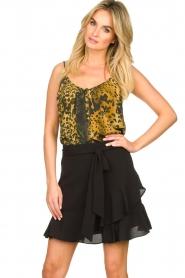 Aaiko |  Wrap skirt with ruffles Salienta | black  | Picture 2