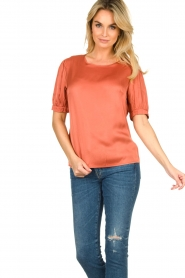 Aaiko |  Top with pleats Sanna | red  | Picture 5