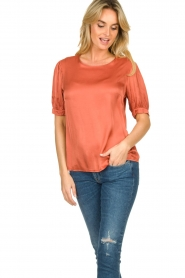 Aaiko |  Top with pleats Sanna | red  | Picture 2