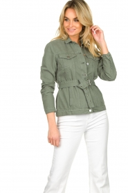 Aaiko |  Belted jacket Caily | green  | Picture 4