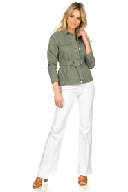 Aaiko |  Belted jacket Caily | green  | Picture 3