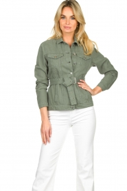 Aaiko |  Belted jacket Caily | green  | Picture 2
