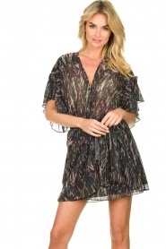 IRO |  Print dress with  lurex Buoux | black  | Picture 4