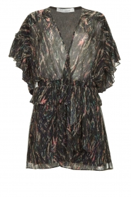 IRO |  Print dress with  lurex Buoux | black  | Picture 1