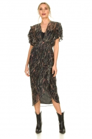 IRO |  Midi dress with lurex Gargas | black  | Picture 6