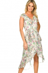 Hale Bob |  Floral printed dress with ruffles Georgette | naturel  | Picture 2