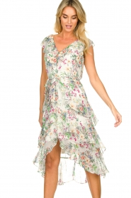 Hale Bob |  Floral printed dress with ruffles Georgette | naturel  | Picture 5