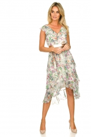 Hale Bob |  Floral printed dress with ruffles Georgette | naturel  | Picture 3