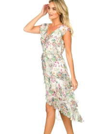 Hale Bob |  Floral printed dress with ruffles Georgette | naturel  | Picture 7