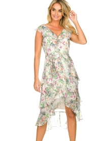 Hale Bob |  Floral printed dress with ruffles Georgette | naturel  | Picture 6