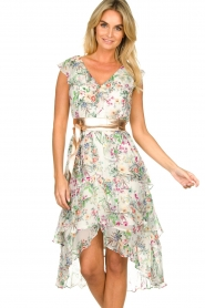 Hale Bob |  Floral printed dress with ruffles Georgette | naturel  | Picture 4