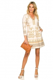 Hale Bob |  Microfiber dress with print Chantal | naturel  | Picture 3