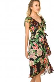 Hale Bob |  Floral printed wrap dress Juliette | black  | Picture 4