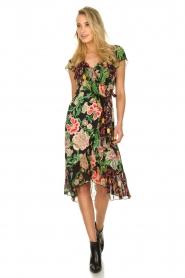 Hale Bob |  Floral printed wrap dress Juliette | black  | Picture 3
