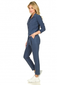 D-ETOILES CASIOPE |  Wrinkle-free stretch jumpsuit with denim look Taime | blue  | Picture 4
