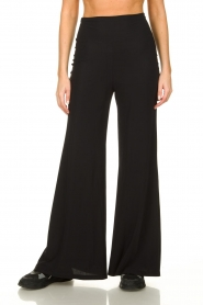 D-ETOILES CASIOPE |  Flared wrinkle-free stretch trousers Tabasco | black  | Picture 2
