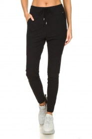 D-ETOILES CASIOPE |  Wrinkle-free stretch pants Guet | black  | Picture 2