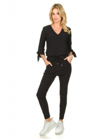 D-ETOILES CASIOPE |  Wrinkle-free stretch pants Guet | black  | Picture 3