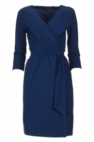 D-ETOILES CASIOPE |  Wrinkle-free stretch dress with wrap effect Teint | blue  | Picture 1