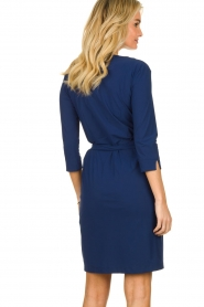 D-ETOILES CASIOPE |  Wrinkle-free stretch dress with wrap effect Teint | blue  | Picture 5