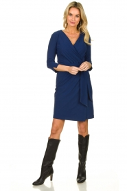 D-ETOILES CASIOPE |  Wrinkle-free stretch dress with wrap effect Teint | blue  | Picture 3