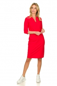 D-ETOILES CASIOPE |  Wrinkle-free stretch dress Trento | red  | Picture 3
