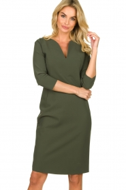 D-ETOILES CASIOPE |  Wrinkle-free stretch dress Trento | green  | Picture 4