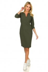 D-ETOILES CASIOPE |  Wrinkle-free stretch dress Trento | green  | Picture 3