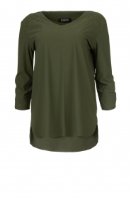 D-ETOILES CASIOPE |  Wrinkle-free stretch top Tigre | green  | Picture 1