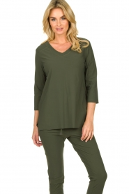 D-ETOILES CASIOPE |  Wrinkle-free stretch top Tigre | green  | Picture 2