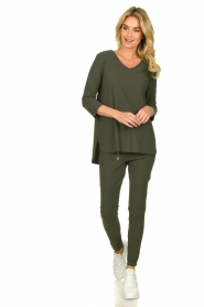 D-ETOILES CASIOPE |  Wrinkle-free stretch top Tigre | green  | Picture 3