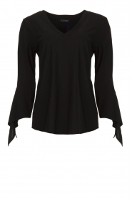 D-ETOILES CASIOPE |  Wrinkle-free stretch top with detailed sleeves Terre | black  | Picture 1