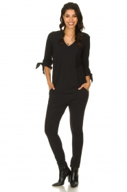 D-ETOILES CASIOPE |  Wrinkle-free stretch top with detailed sleeves Terre | black  | Picture 3