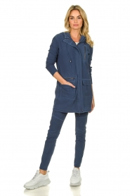 D-ETOILES CASIOPE |  Wrinkle-free stretch jacket Thyme | blue  | Picture 3