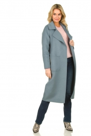 Clairval |  Wool coat Carole | blue  | Picture 3