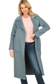 Clairval |  Wool coat Carole | blue  | Picture 4